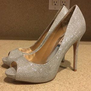 Badgley Mischka Glittering Silver Ponderosa Heels